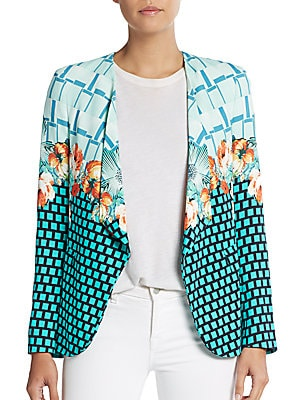 Plaid Floral Tile Blazer