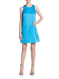 Scalloped-Trim A-Line Shift Dress