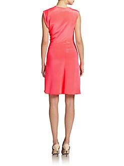 Silk Draped Asymmetrical Dress