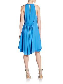 Gathered-Waist Silk Dress