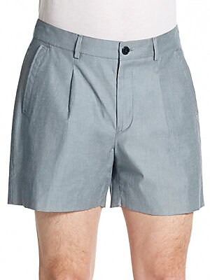 Heathered Pleat-Front Shorts
