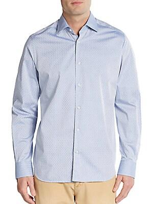 Regular-Fit Double Face Dot Cotton Sportshirt