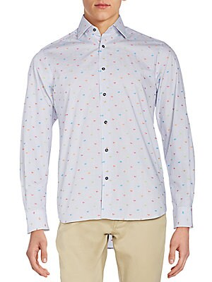Regular-Fit Palm Tree Print Sportshirt