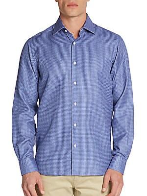 Regular-Fit Mini Paisley-Print Cotton Sportshirt