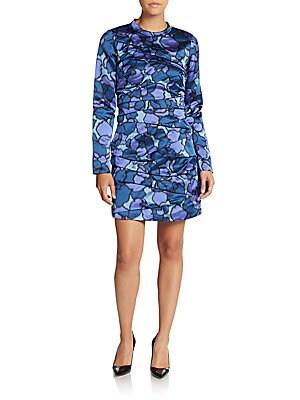marc jacobs female petalprint ruched silk dress