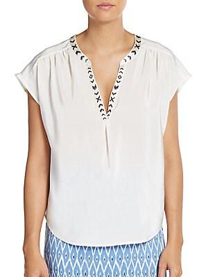 Bosi Embroidered-Neckline Silk Top
