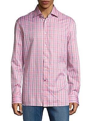 Regular-Fit Plaid Cotton Sportshirt