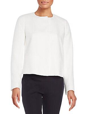 Textured Cotton Collarless Jacket