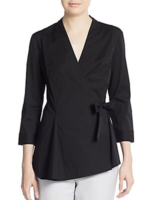 Jillian Stretch-Cotton Wrap Blouse