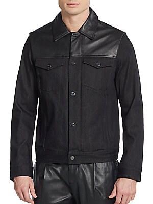 michael kors male convertible leather yoke jean jacket