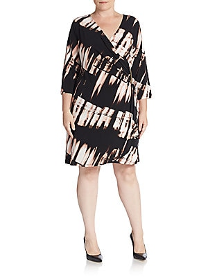 Three-Quarter Sleeve Faux Wrap Dress