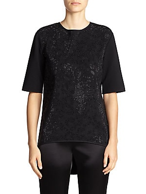 Sequined Animal-Print Top