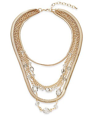 Belle Five-Row Draped Necklace/Goldtone