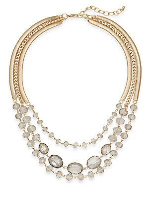 Belle Three-Row Draped Necklace/Goldtone