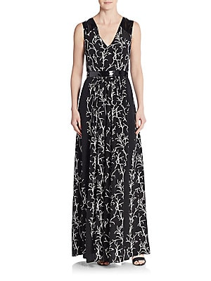 Rory Faux Patent Leather-Trimmed Printed Silk Maxi Dress