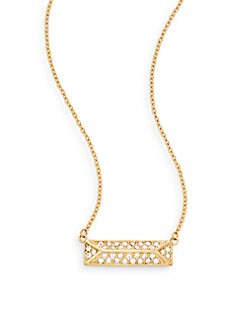 Jewel Box 12K Goldplated Rectangle Pendant Necklace