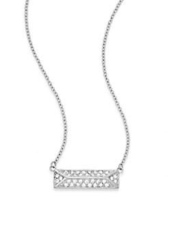 Jewel Box Rectangle Pendant Necklace/Silvertone