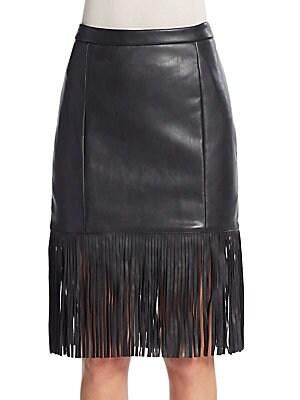Fringe Faux Leather Skirt