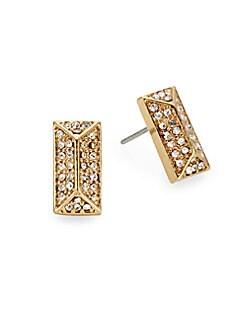 Pavé & 12K Goldplated Rectangle Stud Earrings