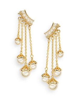 Pearl Affair 12K Goldplated Chain Drop Earrings