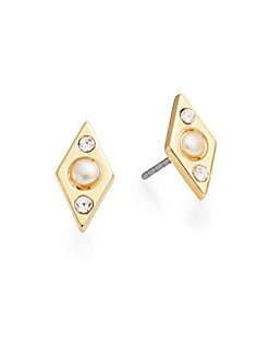 Pearl Affair 12K Goldplated Stud Earrings