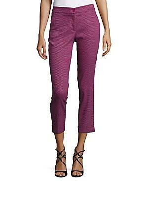 Geometric Patterned Cuffed Cropped Pants