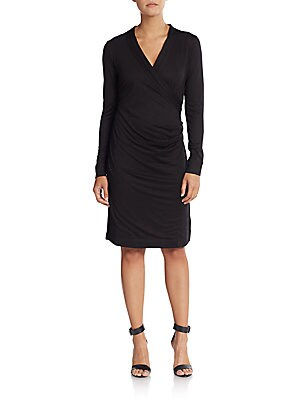 Ruched Mock-Wrap Dress