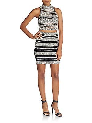 Rhinestone-Embellished Crop Top & Skirt Set