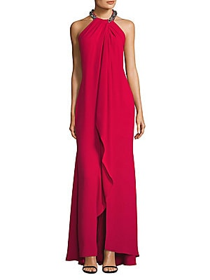 Beaded Crepe Draped Shift Gown