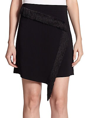 Loren Fringed Wrap-Over Skirt