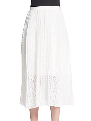 Sheer Checked Pleated Skirt