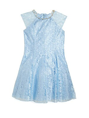 Girl's Jeweled Lace Dress