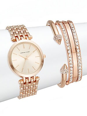 Glitz Rose Goldtone Bracelet Watch Set