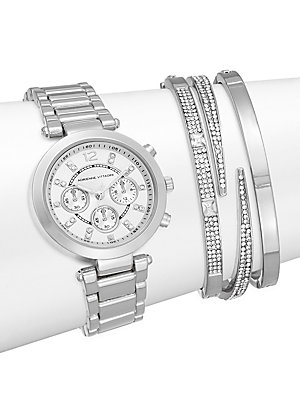 Glitz Silvertone Bracelet Watch Set