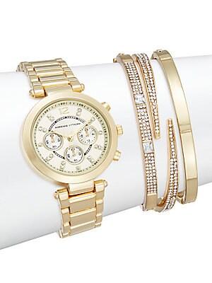 Glitz Goldtone Bracelet Watch Set