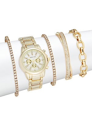 Glitz 5-Piece Bracelet Watch Set/Goldtone