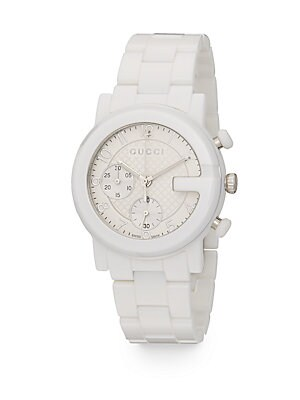 gucci female 45883 gchrono collection ceramic stainless steel watch