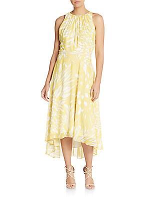 Embellished-Waist Hi-Lo Dress