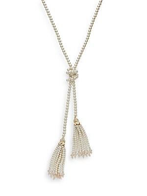 Pearl Embellished Lariat Necklace/Goldtone