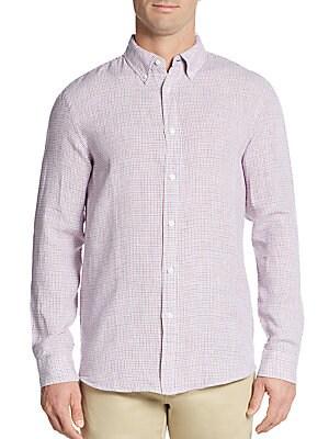 Regular-Fit Micro Check Linen Sportshirt