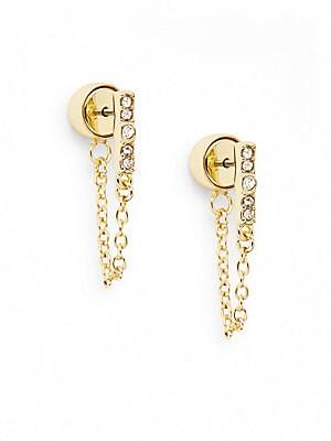 Glitz Bar Chain Earrings/Goldtone
