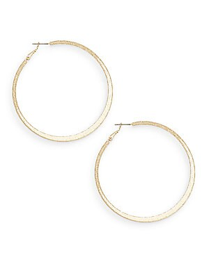 Social Textured Goldtone Hoop Earrings/2.5