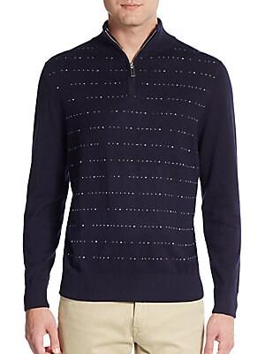 Dot Striped Cotton Quarter-Zip Sweater