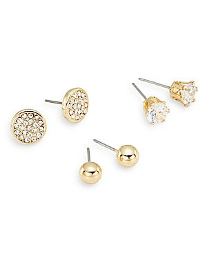 Social White Stone Mixed Stud Earring Set/Goldtone