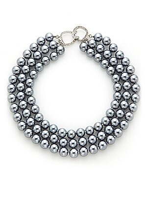 Three-Row Simulated Pearl Necklace