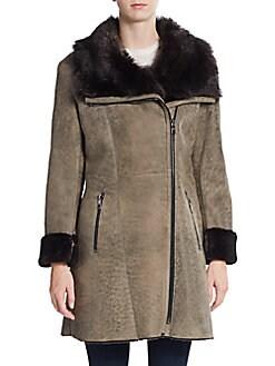 Zip-Front Shearling Coat