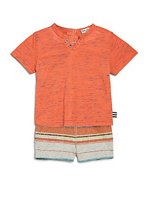 Baby's Two-Piece Space-Dyed Tee & Striped Shorts Set