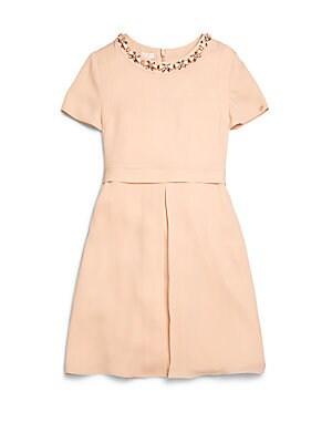 Girl's Jeweled Silk Dress
