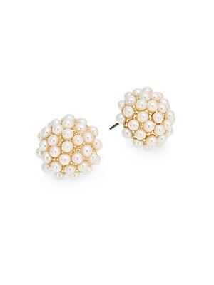 Faux-Pearl Stud Earrings