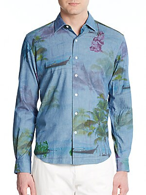Tailored-Fit Tropical-Print Cotton Shirt